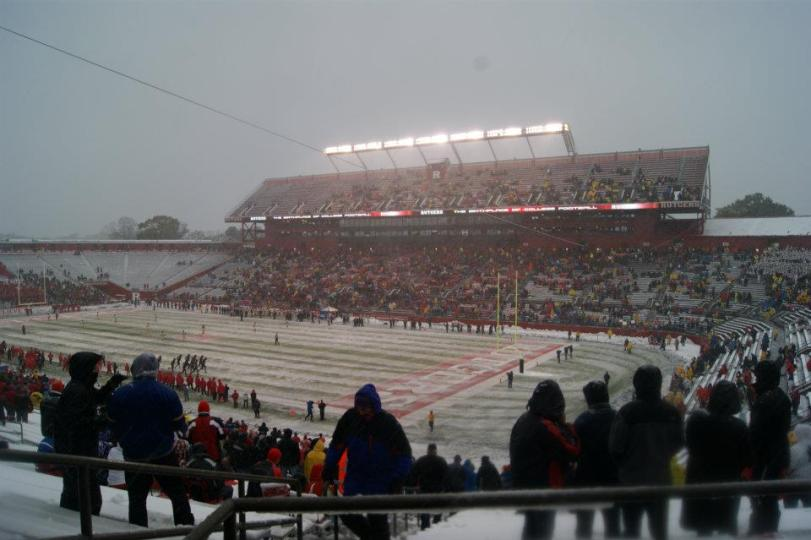 Look at all of the snow on the field at Rutgers in Piscataway, N.J., on Saturday. Our RoadTripSports.com mates were there. (RoadTripSports.com photo by Kendall Webb)