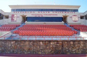 The bleachers at Pittsburg State University's football stadium. (RoadTripSports.com photo by Kendall Webb)