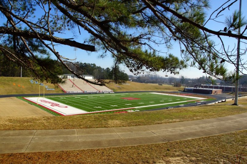 The football stadium at Henderson State University in Arkadelphia, Ark. (RoadTripSports.com photo by Kendall Webb)