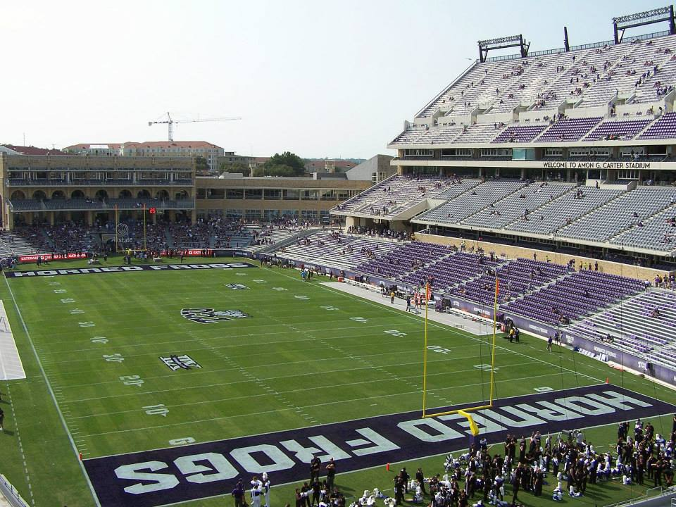 College Football Bowl Games >> Stadium Gallery: Amon G. Carter Stadium, Fort Worth, Texas | Postins' Postcards: A Life On the ...