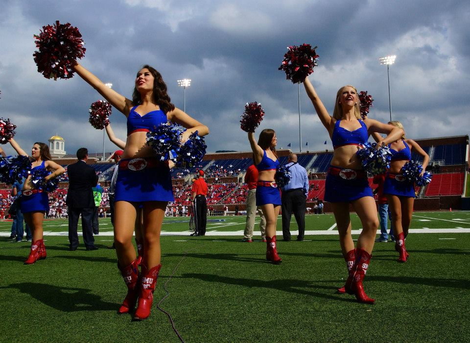 Postcard Of The Day The Smu Pom Squad Postins Postcards A Life On The Sports Road
