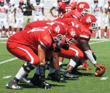The Navarro College Bulldogs offensive line. (RoadTripSports photo by Chuck Cox).