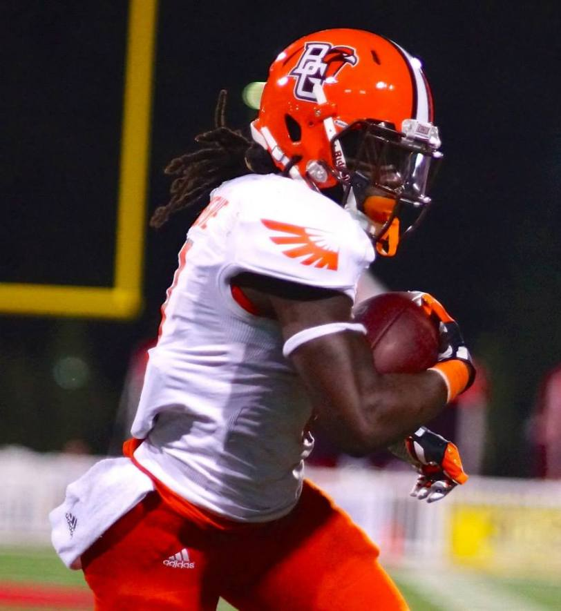 Bowling Green running back Travis Greene heads upfield during the Falcons' game with Western Kentucky on Aug. 29, 2014, in Bowling Green, KY. (RoadTripSports photo by Kendall Webb)