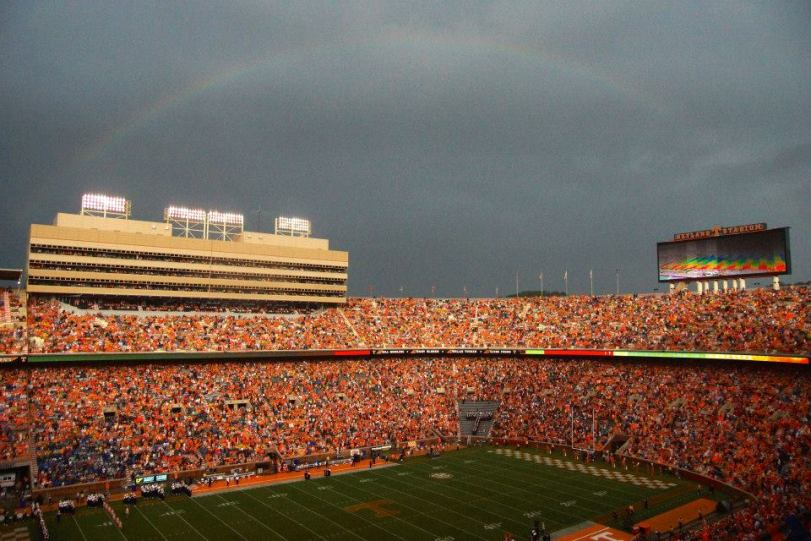 A rainbow appears over Tennessee's Neyland Stadium on Aug. 31, 2014. (RoadTripSports photo by Kendall Webb)