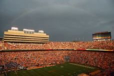 A rainbow appears over Neyland Stadium during Tennessee's home opener with Utah State on Aug. 31, 2014. (RoadTripSports photo by Kendall Webb)