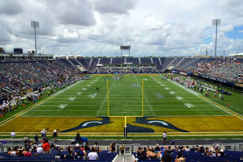 The view from the end zone at FIU Stadium in Miami, FL. (RoadTripSports photo by Kendall Webb)