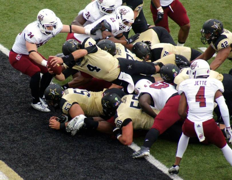 Vanderbilt quarterback Patton Robinette leans across the end zone to score a touchdown against UMass on Sept. 13, 2014, in Nashville, TN. (RoadTripSports photo by Chuck Cox)