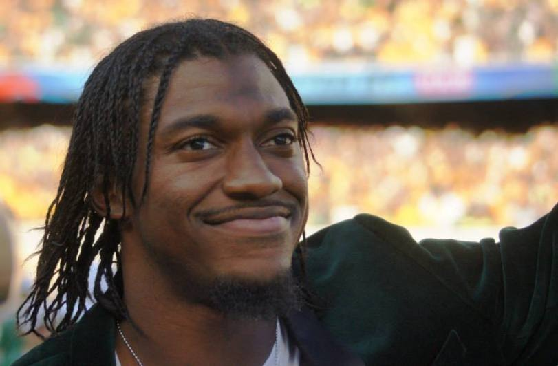 Robert Griffin III waves to the crowd during the Baylor Bears' home opener at McLane Stadium on Aug. 31, 2014. (RoadTripSports photo by Chuck Cox)