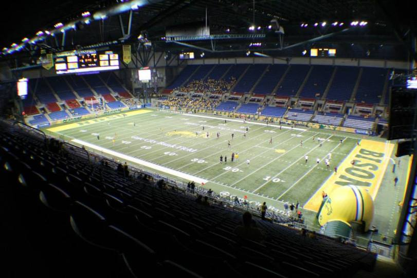 Gate City Bank Field at the Fargodome, the home of the North Dakota State Bison. (RoadTripSports photo by Matthew Postins)