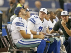 Tony Romo looks up at the jumbotron during Monday's game with Washington. (Dallas Cowboys/Facebook)