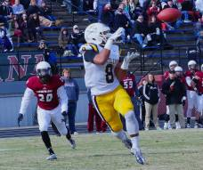 Alderson-Broaddus wide receiver Isaac Silafau prepares to catch a pass during the Battlers' game with Cumberland (TN) on Nov. 22, 2014. (RoadTripSports photo by Kendall Webb)