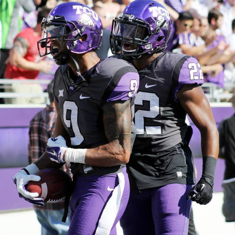 TCU's Josh Doctson celebrates a touchdown last month against Texas Tech. (RoadTripSports.com photo by Matthew Postins)