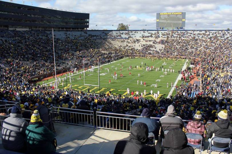 The view from the end zone at Michigan Stadium on Nov. 1, 2014, in Ann Arbor, MI. (RoadTripSports photo by Matthew Postins)