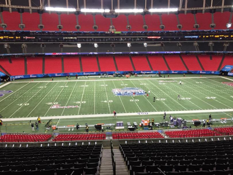 The view from the Press Box and the Chick Fil A Peach Bowl. (RoadTripSports photo by Kendall Webb)