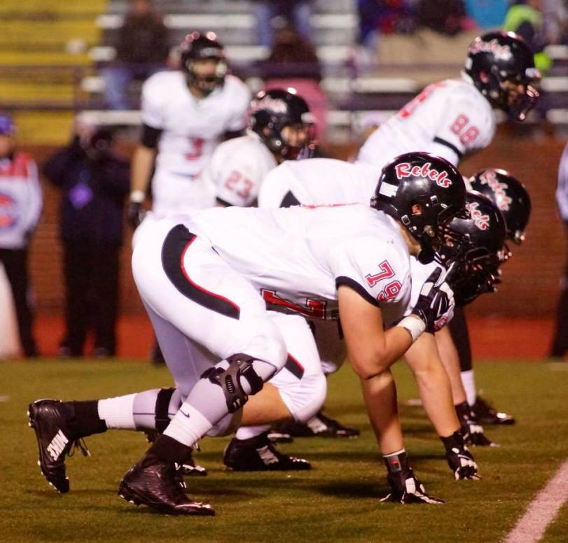 The Maryville (TN) Rebels line up during their TSSAA Class 6A State championship game against Ravenswood on Dec. 6, 2014. (RoadTripSports photo by Kendall Webb)
