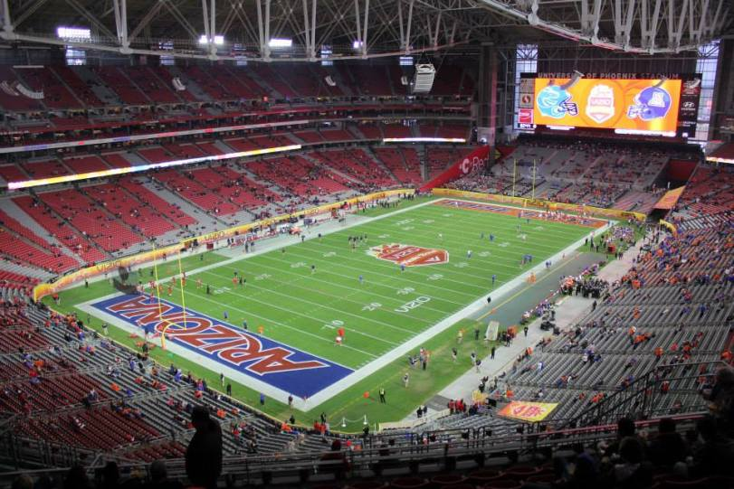 University of Phoenix Stadium, the home of the Vizio Fiesta Bowl. (RoadTripSports photo by Matthew Postins)