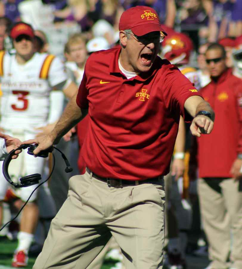 Iowa State coach Paul Rhoads during the Cyclones' game with TCU in 2014. (RoadTripSports photo by Matthew Postins)