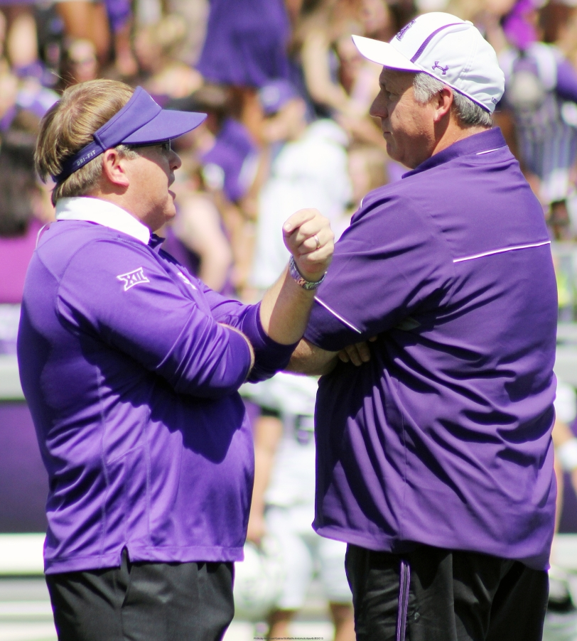 TCU head coach Gary Patterson (left) speaks to SFA head coach Clint Conque before their game at Amon G. Carter Stadium on Saturday, Sept. 12, in Fort Worth, Texas. (RandHSports and RoadTripSports photo by Matthew Postins)