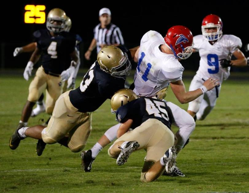 Players from Independence and Lincoln County square off on Sept. 4, 2015, in Thompson's Station, Tenn. (RoadTripSports photo by Kendall Webb)