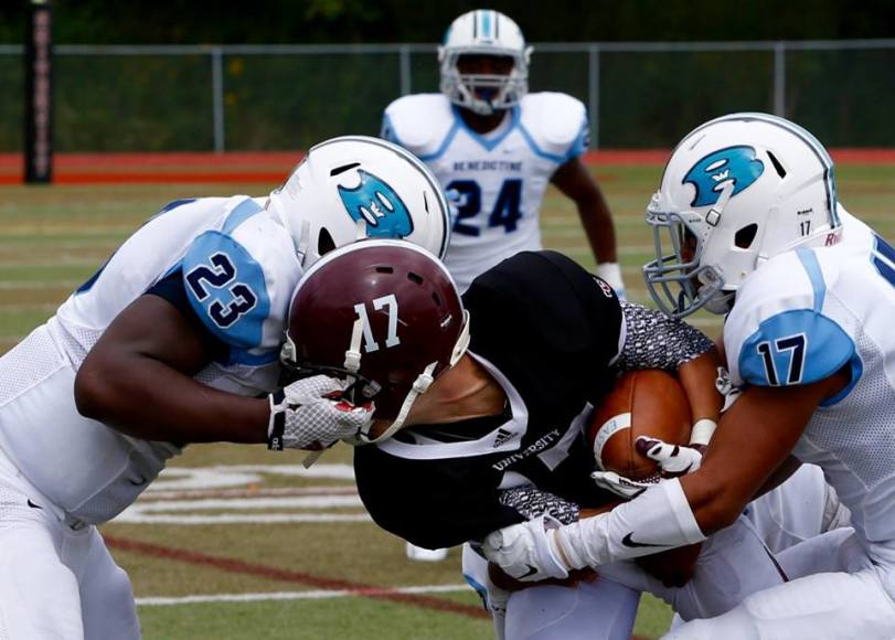 Players from Benedictine and University high schools square off in a contest in Hunting Valley, OH, on Sept. 19. (RoadTripSports photo by Kendall Webb)