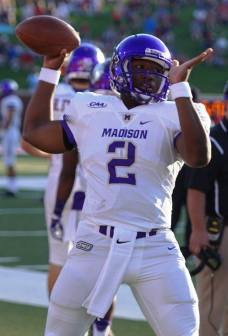 James Madison quarterback Vad Lee. (RoadTripSports photo by Chuck Cox)