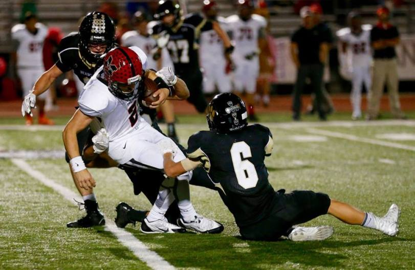 Players from Muscle Shoals and Cullman (AL) high schools square off in their game on Oct. 23, 2015. (RoadTripSports photo by Kendall Webb)