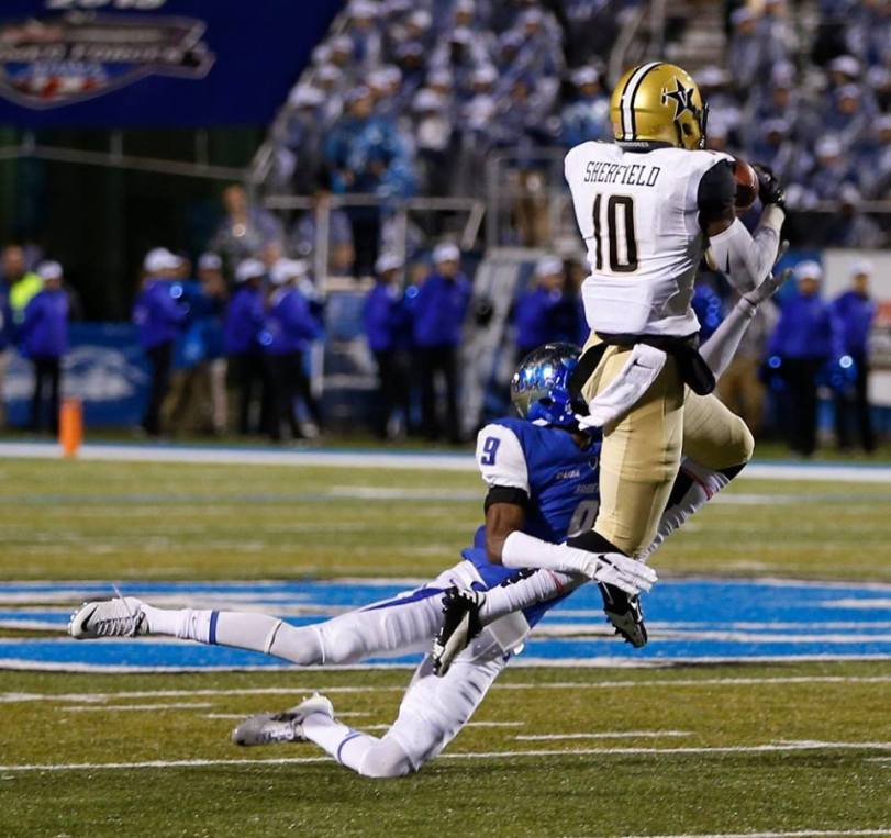 Vanderbilt's Trent Sheffield goes up for a pass during the Commodores' game with Middle Tennessee on Oct. 3, 2015. (RoadTripSports photo by Kendall Webb)