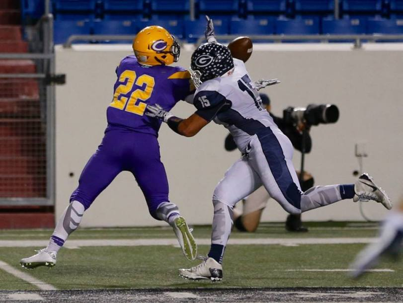 Players from Greenwood and Catholic high schools square off in their game in Little Rock, AR, on Oct. 30, 2015. (RoadTripSports photo by Kendall Webb)