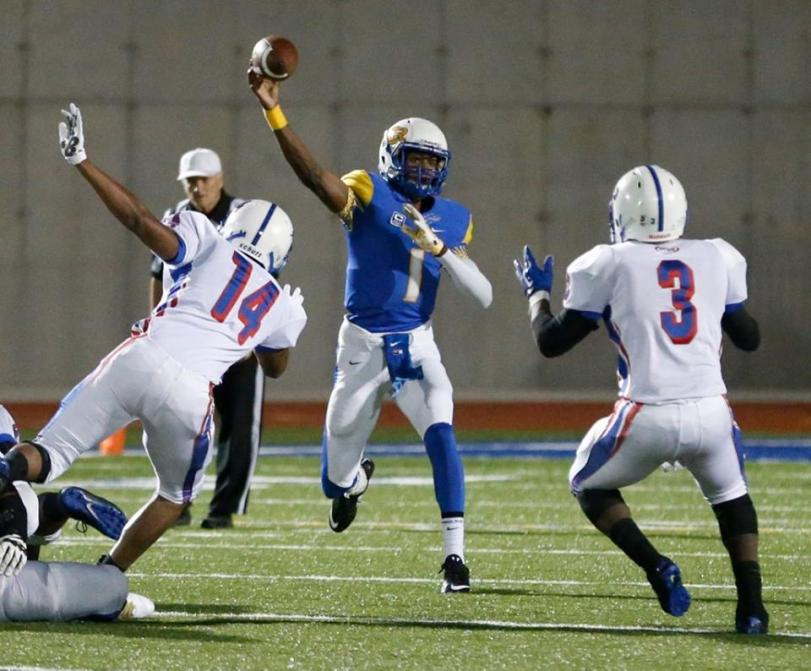 Players from West Memphis and North Little Rock square off during their game on Oct. 30, 2015. (RoadTripSports.com photo by Kendall Webb)